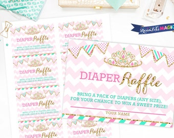 Printable Diaper Raffle Cards, Princess Baby Shower, Pink and Gold, Insert Card printable, Pink Chevron, Pink and Aqua, Crown Shower