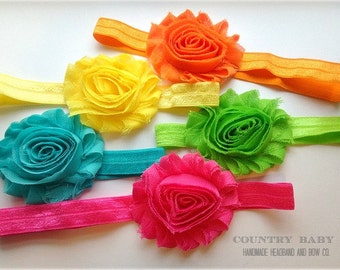 Bright Colors Headband Set...Baby Headbands...Shabby Rose Headband Set