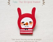 Tobi The Striped Rabbit - Handmade Shrink Plastic Brooch or Magnet - Wearable Art - Made to Order