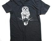 Owl shirt - Men Owl Shirt - Mens Tshirt - Owls - Owl art - Owl Print - Unisex - XS, Small, Medium, Large, Extra Large, 2X  and 3X - Clothing