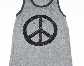 Mens Peace SignTank Top -  Peace Tank Top - 70s - Peace Sign Shirt - 60s Shirt - Small, Medium, Large, XL, 2XL