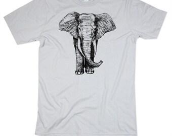 Mens Elephant TShirt - Elepahnts Shirt - Silver Elephant Shirt - Light Grey - Mens Basic Crew Neck - Small, Medium, Large, XL, 2XL