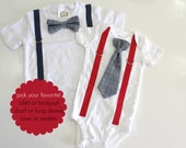Chambray Tie for Baby Toddler Boys. Denim Baby Outfit. Bow tie and suspenders. Newborn boy hospital outfit. Boys tshirt.