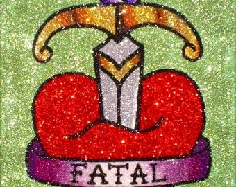 Sword Heart Glitter Painting • Old School Tattoo Flash Art •  Rockabilly Decor