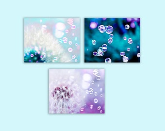 Dandelion Wall Art, SALE, Flower Photography, Purple, Blue, Dandelion Print, Set of 3 Prints, Teal, White, Girl Nursery Decor, Save 50%