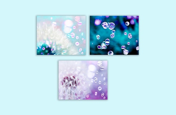 SALE, Flower Photography, Purple, Blue, Dandelion Print, Set of 3 Prints, Teal, White, Girl Nursery Decor, Save 50%