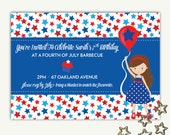 Fourth of July Birthday BBQ Invitation - Printing Deposit or Printable / Digital File