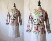 c1960's Floral Linen Dress