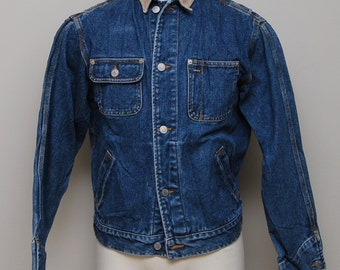 Vintage men's blue jean jacket with corduroy collar / blue jean jacket / Ralph Lauren