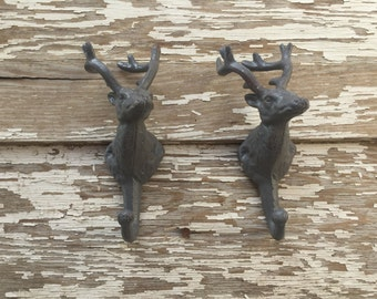 Set of 2 Deer Head Hooks - Cast Iron Wall Decor - Gray Distressed #275
