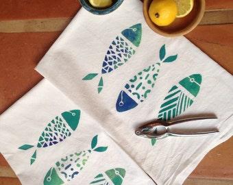 Little Fish Cotton Flour Sack Dish Towel Set