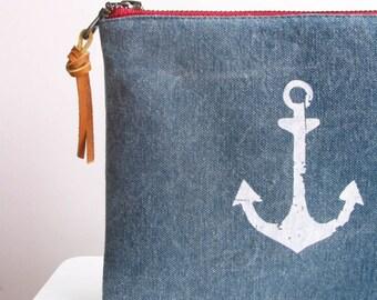 Faded Anchor Clutch Rustic Nautical Americana Screenprint Zipper Pouch Smarthphone Purse Accessories