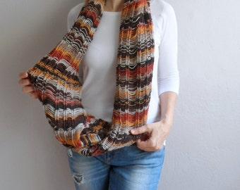 Chunky Infinity Loop Scarf, Cowl, Hood, Neckwarmer, Hand Knit Big Cowl in Earth Tones