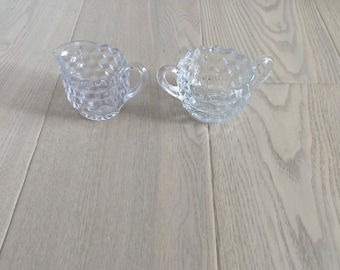 Vintage Glass Cream and Sugar Set