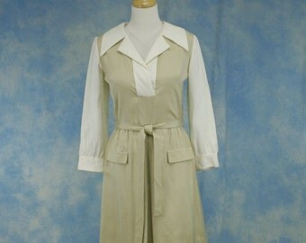 Vintage 60s 70s Mod Mini Dress, Linen, Size Med Large 10 12