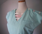 80s Teal Pastel Romper One Piece with Tie Waist and Buttons by Danik of California