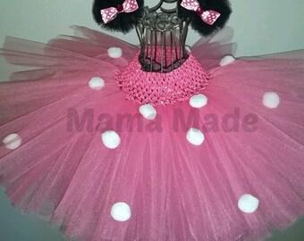 "Hot Pink Polka Dot tutu with matching Tulle Puff ""ears"" Mouse Tutu,polka dot tutu,pink tutu,hot pink tutu,girls tutu, flower girl tutu,tutu"