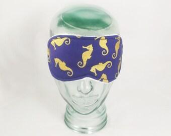 Seahorse Sleep Mask Nautical Eye Mask Sea Horse Blindfold Sleeping Mask Gold Navy Blue Eye Shade Ocean Travel Mask Gift Accessory
