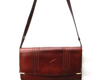 Smart, Brown Leather Handbag / Shoulder Bag- Vintage