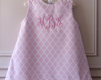 "Girl's Monogrammed ""Pretty in Pink"" Jumper Dress with Ruffle Hem"