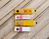 Personalized Pencil Bag Tag Key Chain, Monogrammed, Custom Made, Vinyl, with Snap