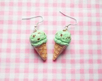 Ice Cream Cone Earrings, Ice Cream Earrings, Mint Chocolate Chip, Chocolate Mint, Food Earrings, Dessert Earrings, Miniature Food, Ice Cream