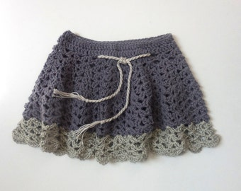 VINTAGE CROCHET SKIRT Easter Baby Girl Purple Lavendar Gray Silver Spring Summer Hand Made Crochet Scalloped Lace Lacey 1 - 2 year