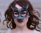 Black fox masquerade ball mask, halloween mask, animal mask, handmade mask, costume, accessories,