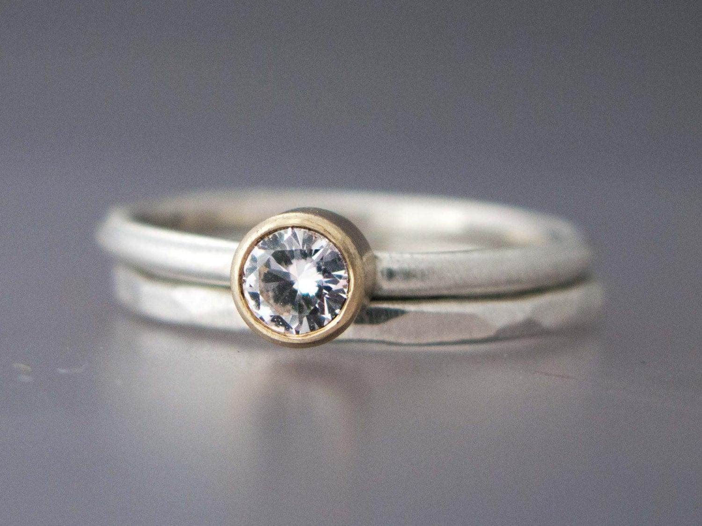 alternative wedding set engagement ring and wedding band in. Black Bedroom Furniture Sets. Home Design Ideas