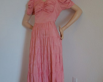 Vintage 1940s Dress / 1940s Pink Ruched Tiered Gown / Full Length Rayon Faille Dress by New York Creation / NY Dress Institute Designer Gown