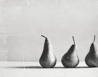 Pears 5x7 black and white, fruit, kitchen, art, food