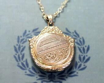 Gold Filled Locket Necklace, 12K Round Vintage Hayward Pendant with Fancy Top - Art Deco
