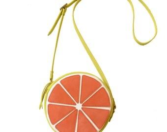 La Lisette leather fruit bag Grapefruit bag crossbody bag Women's Bag Leather Purse