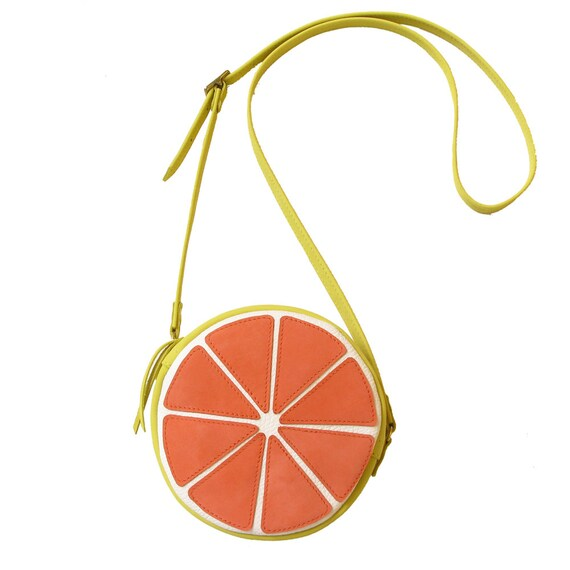 Fruit bag, Grapefruit bag, Handmade, crossbody bag, Women's Bag, Leather Bag / Leather Purse / fruit bag / citrus