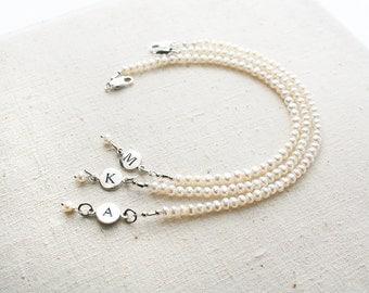 Bridesmaid Bracelet, Pearl Bracelet, Initial Bracelet, Bridesmaid Gift