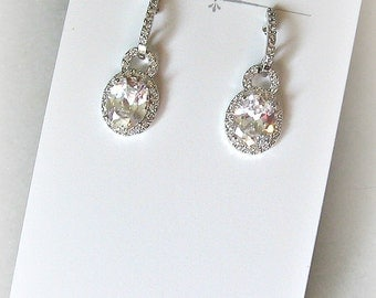 Delicate Crystal Earrings, Bridal Earrings, Cubic Zirconia Dangle Earrings - ELSA