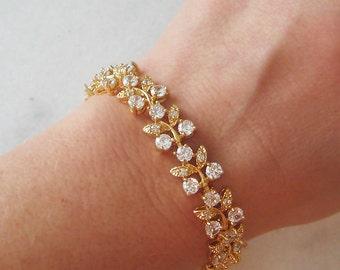 Crystal Rhinestone Bracelet, Gold Wedding Bracelet, Crystal Bridal Bracelet - RUE CHARLEMAGNE