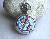 ON SALE!! Pocket Watch Necklace, Silver Watch Necklace, Long Watch Necklace, Watch Pendant, Fish, Owl, Alice in Wonderland, Flowers, Girl,