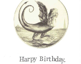 Harpy Birthday Greek Mythology Card | Classics Nerdy Puns Ancient Myth Monster Woman History Humor Funny Feminist For Her Nerdy