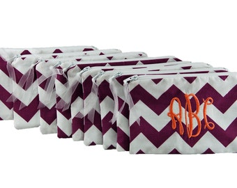 Monogrammed Cosmetic Bags ~ Set of 9 Small Size ~ Purse Sized Make Up Bag ~ Personalized Make Up Bag ~ Bridesmaid Make Up Bag