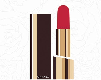 Chanel Print Chanel Lipstick Poster Roses Coco Chanel Poster Lips Paris Modern Fashion Illustration Print Abstract Art Wall Decor