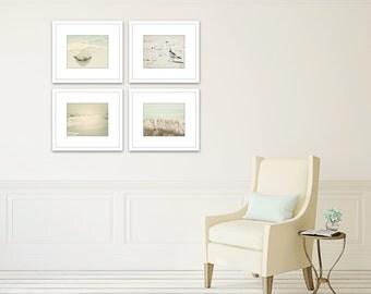 nautical art set of 4 prints, beach wall art, gallery wall, ocean photography, coastal prints, nautical decor, beach photography, shell art