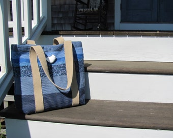 Womens Summer Tote Bag, Nautical Beach Shoulder Bag Ocean Sea Blue Fashion Bag, Eco Recycled Fabric Woven Large Purse Market Bag, Travel Bag