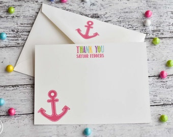 Personalized Preppy Anchor Thank You Note for Girls / Personalized Stationery / Anchor Thank You Note Cards /  Personalized Anchor Notes