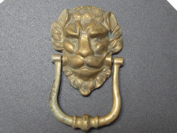 Vintage large brass lion door knocker lion face knocker - Lion face door knocker ...
