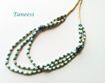 Turquoise Necklace,Ivory and turquoise bone bead necklace,layered Necklace,Casual Beach Jewelry by Taneesi