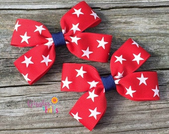 4th of July Pigtail Hair Bows, Red White and Blue Hair Bows, Fourth of July Bows, Patriotic Hair Clips, Pigtail Hair Bows, July 4th Bows