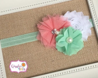 Mint and Coral Baby Headband, Coral and Mint Flower Headband, Baby Headband, Toddler Headband, Newborn Headband, Photo Prop, Baby Girl Bows