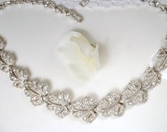 Art Deco Pave Rhinestone Leaf Link Bridal Necklace, Vintage Designer ORA Silver Statement Necklace 1920s Nouveau Gatsby Autumn Wedding Paste
