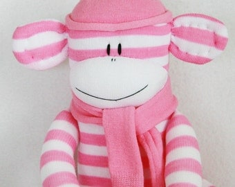 Sock Monkey Pink and White Stripes, Stuffed Toy, Stuffed Animal, Baby Toy, Stuffed Toys